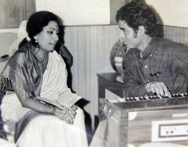 With Parveen Sultana at a music recordin