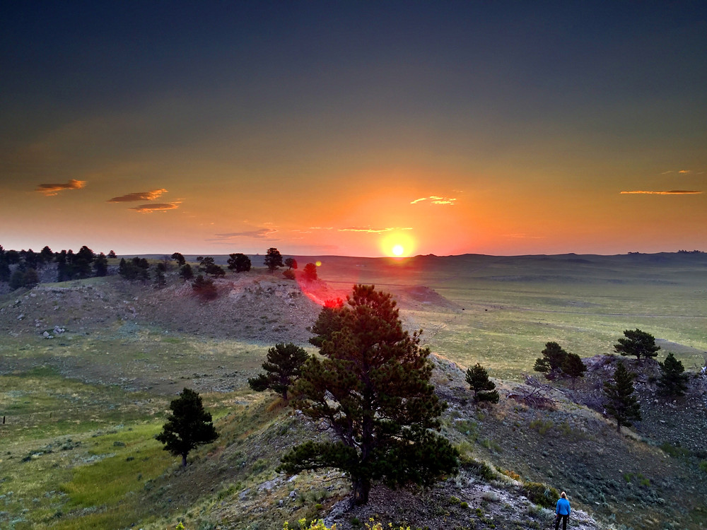Sunrise in Wyoming on day of solar eclipse