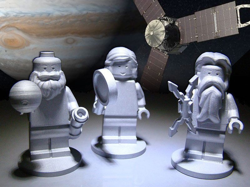 Lego figurines of Roman gods Jupiter and Juno and Italian rennaissance scholar Galileo Galilei