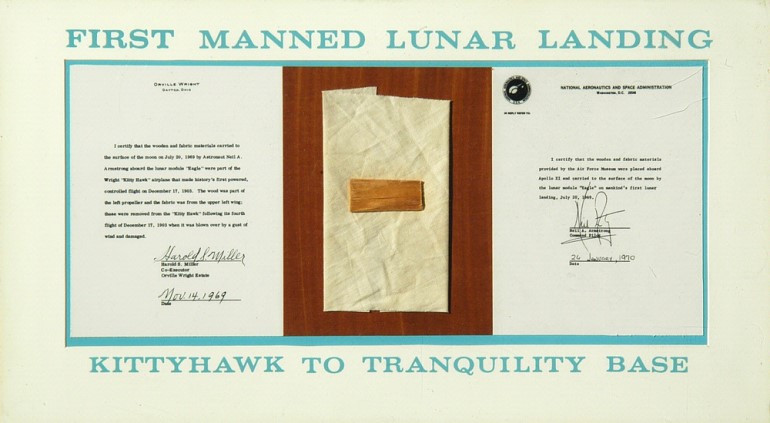 plaque and letters of authenticity showing components from the Wright Brothers plane Kitty Hawk