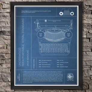 "Underwood: Jack Kerouac, 1930s Portable Royal Standard Typewriter ""Blue"" Print"