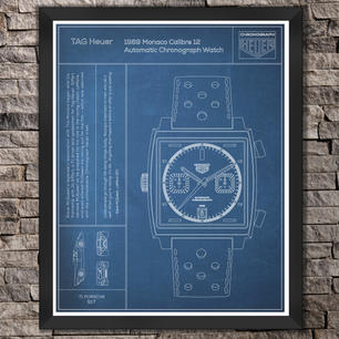 "TAG Heuer: The Monaco Watch. ""Blue"" Print"