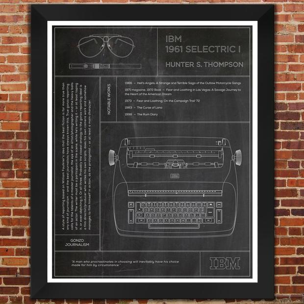 "IBM Selectric I: Hunter S. Thompson Typewriter ""Slate"" Print"