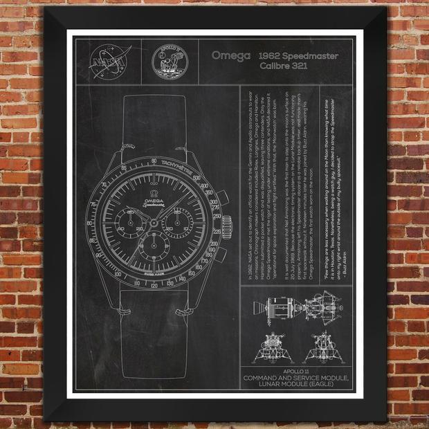 "Omega: Speedmaster Apollo Moon Watch. ""Slate"" Print"