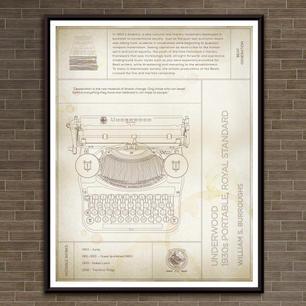 "Underwood: William S. Burroughs, 1930s Portable Royal Standard Typewriter ""Parchment"" Print"