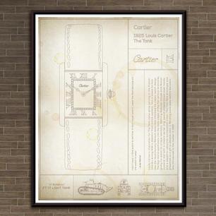 "Cartier: The Tank Watch. ""Parchment"" Print"