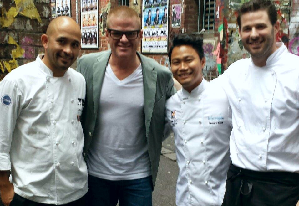 Woody with the Coda team and Heston Blumenthal