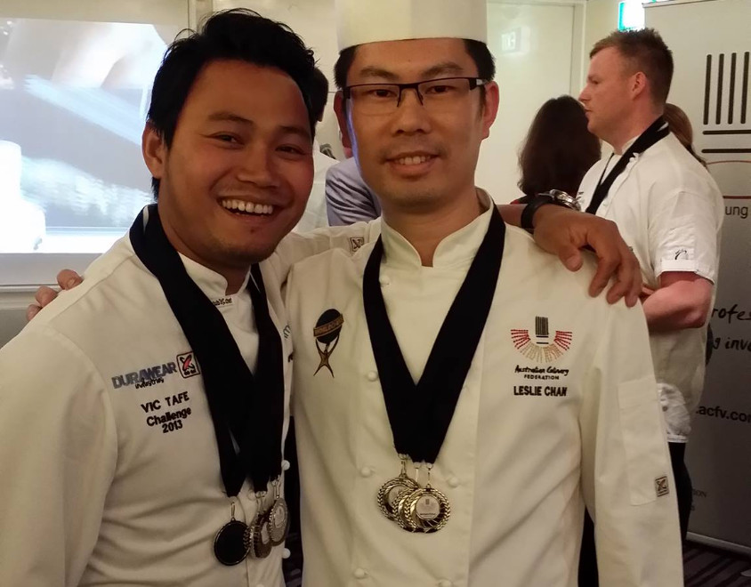 Woddy with his mentor Leslie Chan