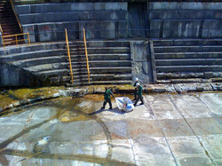 Greenscape cleaning out dry dock