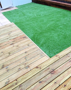 Astroturf, decking and patio