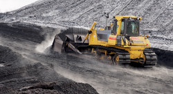Bulldozer working in Coal field
