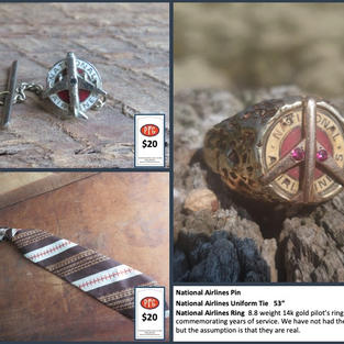 """National Airlines Pin, Silver withy Ruby Embedded Pilots Pin National Airlines Uniform Tie   53"""" National Airlines Ring  8.8 weight 14k gold pilot's ring commemorating years of service. We have not had the ruby's tested but the assumption is that they are real."""