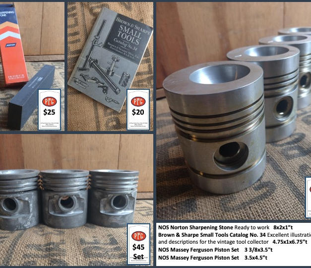 """NOS Norton Sharpening Stone Ready to work   8x2x1""""t Brown & Sharpe Small Tools Catalog No. 34 Excellent illustrations and descriptions for the vintage tool collector   4.75x1x6.75""""t NOS Massey Ferguson Piston Set    3 3/8x3.5""""t  NOS Massey Ferguson Piston Set    3.5x4.5""""t"""