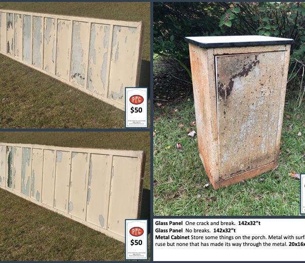 """Glass Panel  One crack and break.  142x32""""t Glass Panel  No breaks.  142x32""""t Metal Cabinet Store some things on the porch. Metal with surface ruse but none that has made its way through the metal. 20x16x34""""t"""