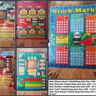 "Bally 'Bahama Beach' Pinball\Bingo Back Glass 1966 2 5x31"" Bally 'Dixieland' Pinball\ Bingo Back Glass 1967  (5) 25""x31"" Bally 'Bamboo' Pinball\ Bingo Back Glass 1967   25""x31"" Bally 'Tahiti' Pinball\ Bingo Back Glass 1978   (2) 25""x31"" Bally 'Stock Market' Pinball\ Bingo Back Glass 1971 (2) 25""x31"""