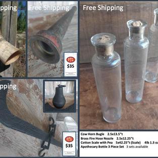 "Cow Horn Bugle    2.5x13.5""t Brass Fire Hose Nozzle    2.5x12.25""t Cotton Scale with Pea    5x42.25""t (Scale)     4lb 1.3 oz (Pea) Apothecary Bottle 3 Piece Set   3 sets available"