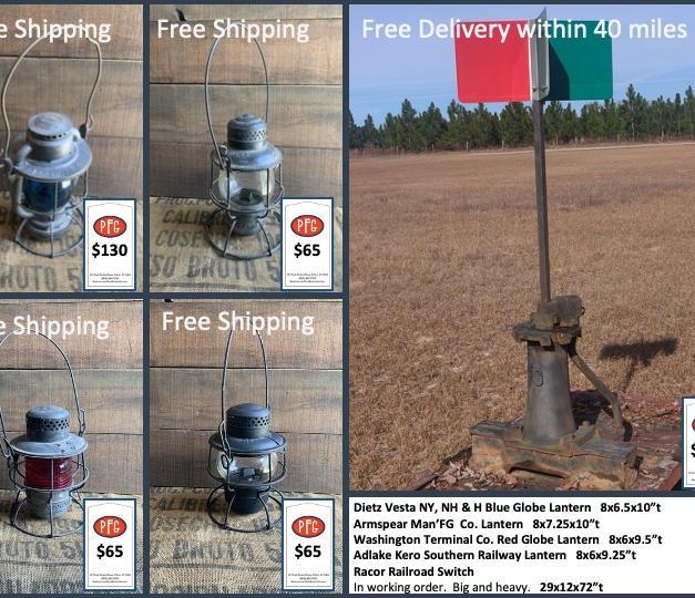 "Dietz Vesta NY, NH & H Blue Globe Lantern   8x6.5x10""t Armspear Man'FG  Co. Lantern   8x7.25x10""t Washington Terminal Co. Red Globe Lantern   8x6x9.5""t Adlake Kero Southern Railway Lantern   8x6x9.25""t Racor Railroad Switch   In working order.  Big and heavy.   29x12x72""t"