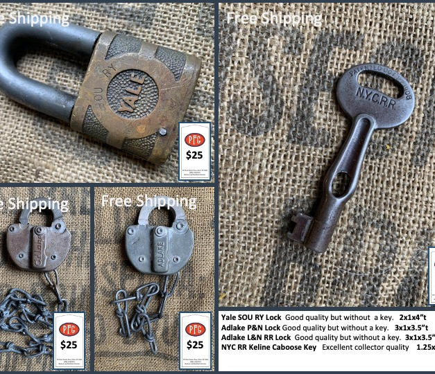 """Yale SOU RY Lock  Good quality but without  a key.   2x1x4""""t Adlake P&N Lock Good quality but without a key.   3x1x3.5""""t Adlake L&N RR Lock  Good quality but without a key.  3x1x3.5""""t NYC RR Keline Caboose Key   Excellent collector quality    1.25x3""""t"""
