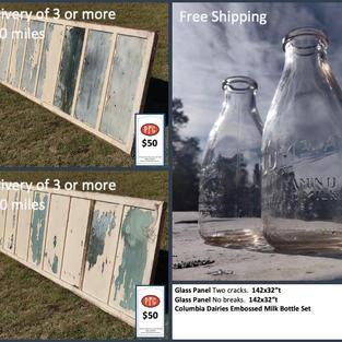 "Glass Panel Two cracks.  142x32""t Glass Panel No breaks.  142x32""t Columbia Dairies Embossed Milk Bottle Set"