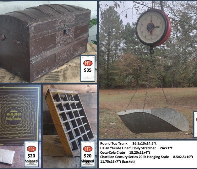 """Round Top Trunk      26.5x13x14.5""""t Halan """"Guide Liner"""" Doily Stretcher     24x21""""t Coca-Cola Crate     18.25x12x4""""t Chatillon Century Series 20 lb Hanging Scale     8.5x2.5x10""""t         11.75x16x7""""t (basket)"""