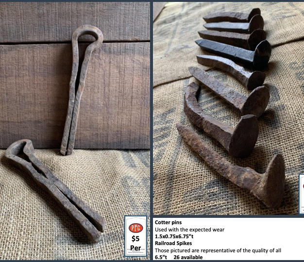 """Cotter pins Used with the expected wear 1.5x0.75x6.75""""t Railroad Spikes Those pictured are representative of the quality of all 6.5""""t     26 available"""