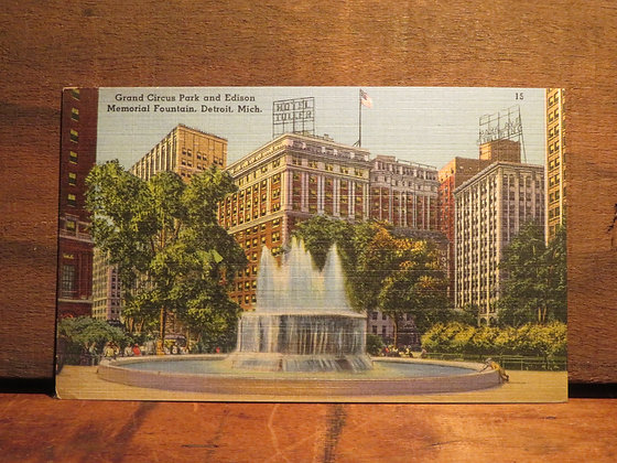 Grand Circus Park and Edison Memorial Fountain Detroit Michigan