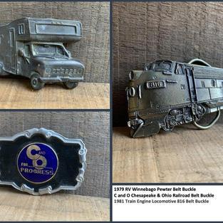 1979 RV Winnebago Pewter Belt Buckle C and O Chesapeake & Ohio Railroad Belt Buckle 1981 Train Engine Locomotive 816 Belt Buckle