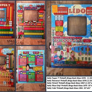 "Bally 'Super 7' Pinball\ Bingo Back Glass 1970   (5) 25""x31"" Bally 'Bonanza' Pinball\ Bingo Back Glass 1976 (2) 25""x31"" Bally 'Orient' Pinball\ Bingo Back Glass 1967 (2) 25""x31"" Bally 'Blue Chip' Pinball\ Bingo Back Glass 1975  25""x28"" Bally 'Lido' Pinball\ Bingo Back Glass 1961  25""x31"""