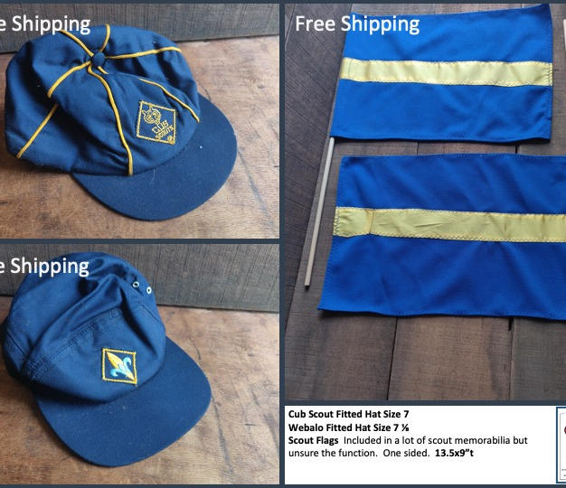 """Cub Scout Fitted Hat Size 7 Webalo Fitted Hat Size 7 ⅛ Scout Flags  Included in a lot of scout memorabilia but unsure the function.  One sided.  13.5x9""""t"""