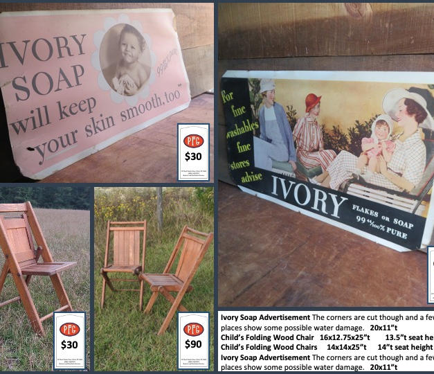 """Ivory Soap Advertisement The corners are cut though and a few places show some possible water damage.   20x11""""t Child's Folding Wood Chair   16x12.75x25""""t        13.5""""t seat height Child's Folding Wood Chairs     14x14x25""""t      14""""t seat height Ivory Soap Advertisement The corners are cut though and a few places show some possible water damage.   20x11""""t"""
