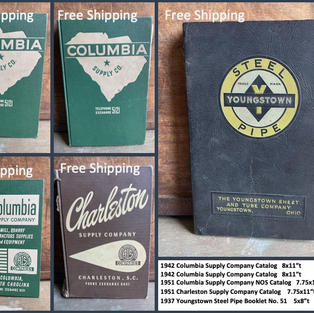 """1942 Columbia Supply Company Catalog   8x11""""t 1942 Columbia Supply Company Catalog   8x11""""t 1951 Columbia Supply Company NOS Catalog   7.75x11""""t 1951 Charleston Supply Company Catalog    7.75x11""""t 1937 Youngstown Steel Pipe Booklet No. 51    5x8""""t"""