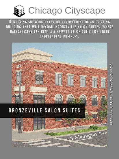 Rendering showing exterior renovations of an existing building that will become Bronzeville Salon Suites, where hairdressers can rent a a private salon suite for their independent business.
