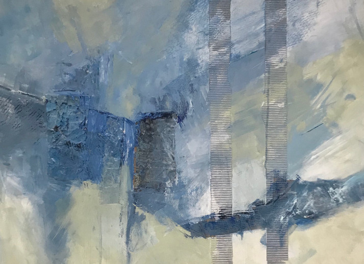 Collage Composition in Silver & Blue
