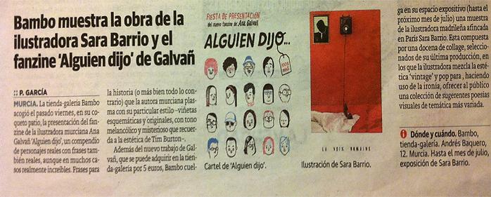 Periódico La Verdad, Murcia, exposición de Sara Barrio