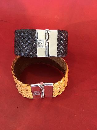 12 strand leather cuff with sterling silver side lock