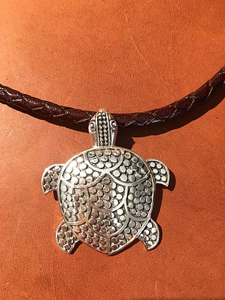 Dotted Sterling Silver Turtle Necklace