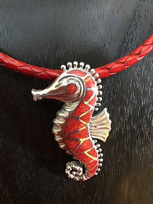Necklace with sterling silver Seahorse with Red Coral