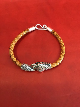 Bracelet with sterling silver Snake Head and Tail