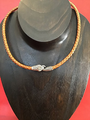 Necklace with sterling silver Snake Head and Tail