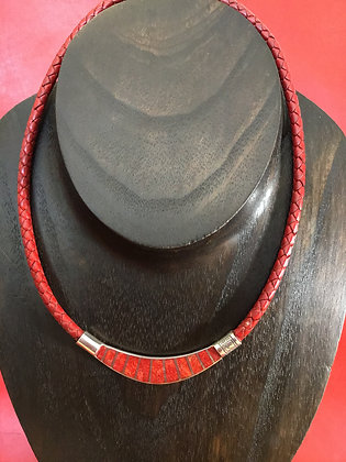 Necklace with flat sterling silver with Red Coral