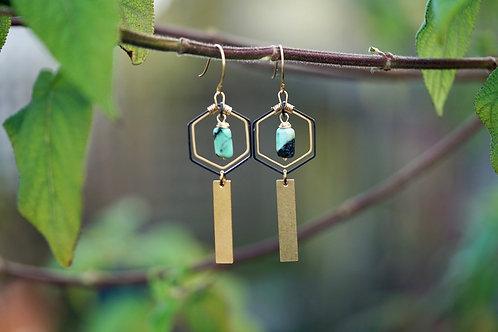 Raw Brass Hexagon Earrings