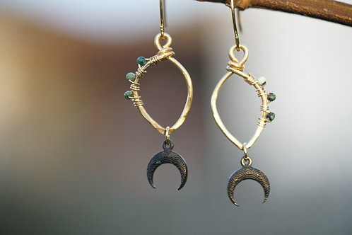 Gold hammered leaf hoops