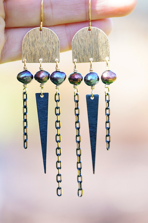 Textured brass Drop Earrings