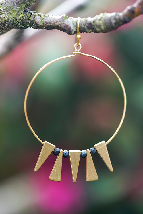 Hammered raw brass hoops