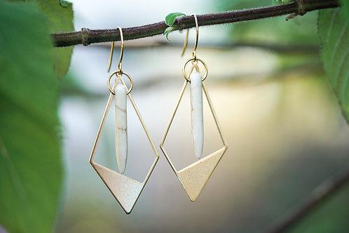 Brass Diamond Drop Earrings