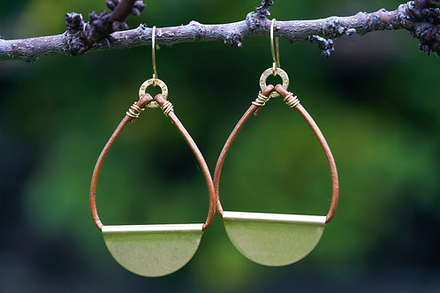 Leather & Brass Hoops