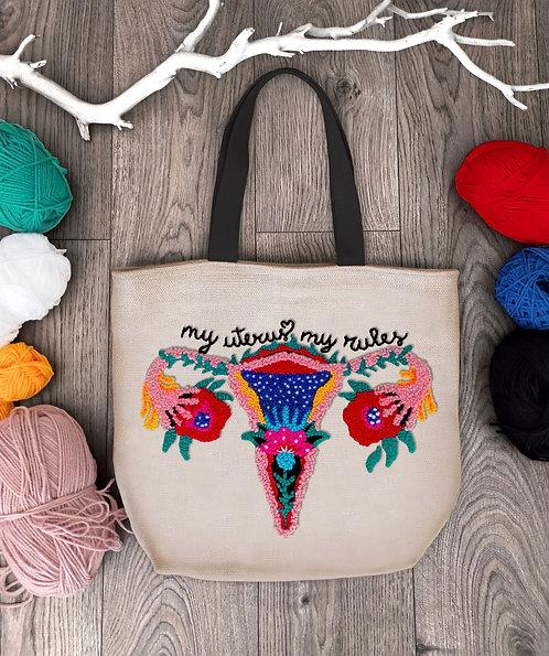 "Shopping bag con ricamo ""My Uterus, My Rules"""