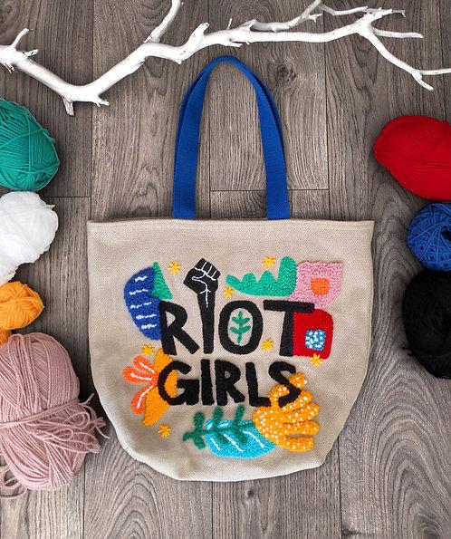 """Shopping bag con ricamo """"Riot Girls"""""""