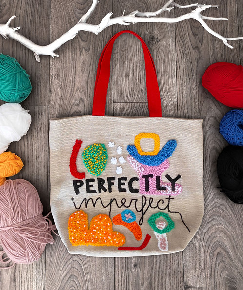 """Shopping bag con ricamo """"Perfectly imperfect"""""""