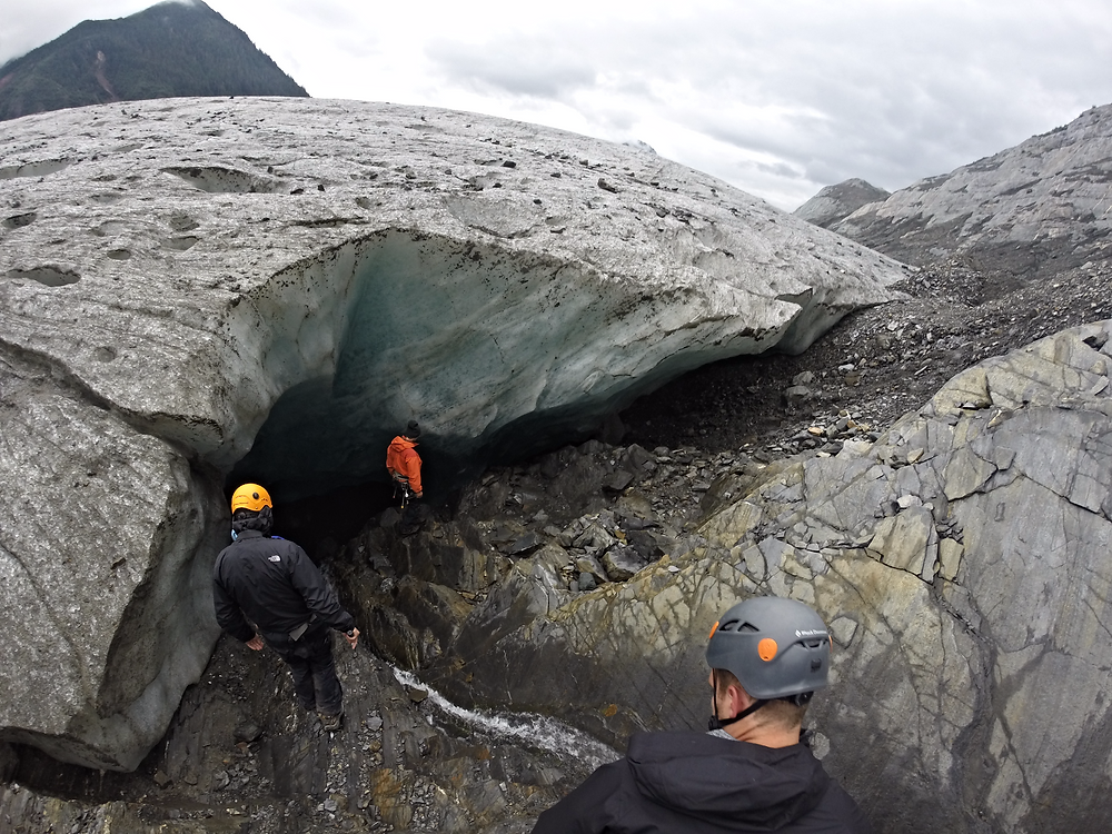 Descending into the ice cave